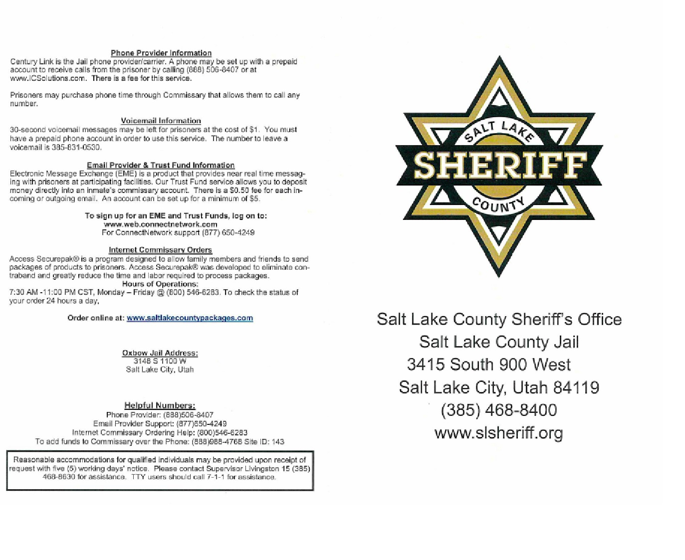 slsheriff Information about the Salt Lake County Jail
